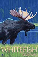 Whitefish、モンタナ州–Moose at Night 9 x 12 Art Print LANT-19865-9x12