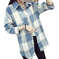 Jojckmen Women Plaid Blouse Cotton Long Sleeve Checkered Shirt Turn-Down Collar Top