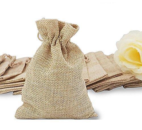 リネン ジュート 巾着袋 ジュエリーポーチ 麻 小物入れ ラッピング ギフトバッグ 無地 12.8cm X 9.5cm 20枚セット ナチュラル