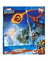 Marvel Heroes Thor , Human Torch , and Iron Man Lenticular Puzzle ( 100pc )