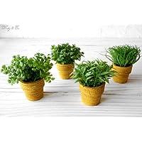 フェイクグリーン MiniGrassPot 4点セット (人工観葉植物)