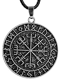 1pcs Norse VikingsアミュレットペンダントネックレスNorse Vegvisirルーンネックレスペンダントネックレスオリジナルジュエリー