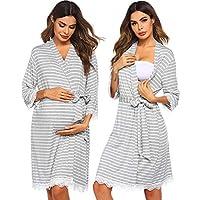Ekouaer Maternity Robe - Labor and Delivery Nursing Bathrobes Striped Lace Trim Kimono Nightgown
