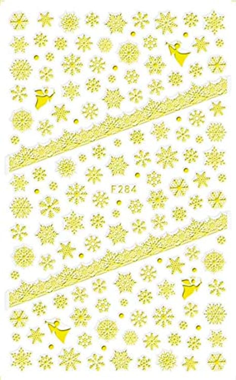 出費予算執着SUKTI&XIAO ネイルステッカー 1枚の釘のクリスマスの設計3D雪の花の釘のステッカーの青/黒/白/銀/金の付着力の押す釘の装飾、F284金