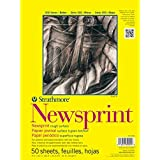 """Strathmore 300 Series Newsprint Pad, Smooth 18""""x24"""" Tape Bound, 50 Sheets"""