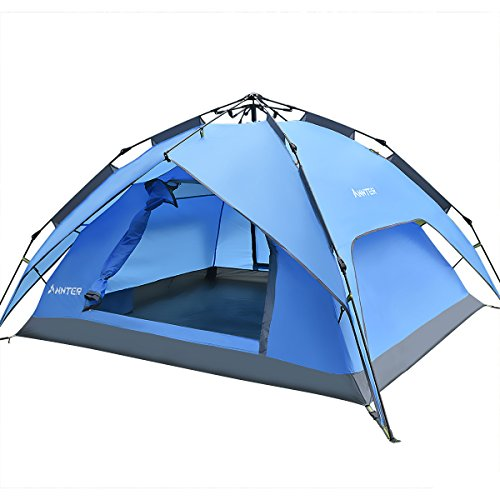 ANNTER ワンタッチテント テント 3~4人用 設営簡単 防災用 2WAY キャンプ用品 撥水加工 紫外線防止 登山 折りたたみ 防水 通気性 アウトドア 秒速設営 3色選択可能 (ブルー 改良版)
