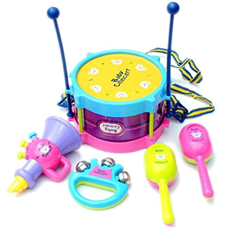 gqmart教育子供おもちゃ5点/セットNovelty Kidsロールドラム楽器MiniバンドキットRhythm
