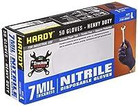 Hardy 50 Pc Large 7mil Nitrile Powder-Free Gloves [並行輸入品]