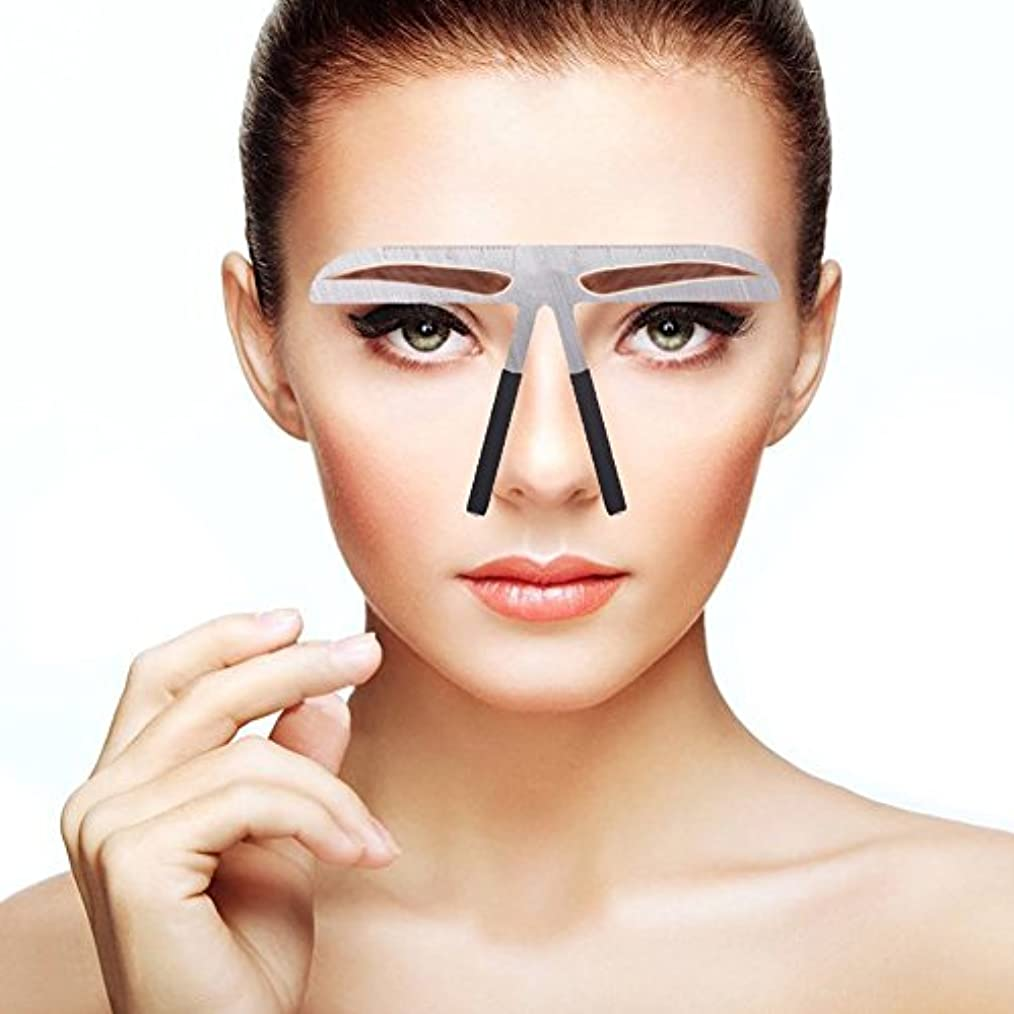 ライラック燃やす前書き眉毛テンプレート、眉用ステンシル メイクアップ 美容ツール アイブローテンプレート アートメイク用定規 左右対称 位置決め 繰り返し使用 便利 初心者眉の補助器 男女兼用(02)