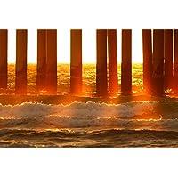 海の柱のサンレイ - ビーチ#35324 - キャンバス印刷アートポスター 写真 部屋インテリア絵画 ポスター 50cmx33cm