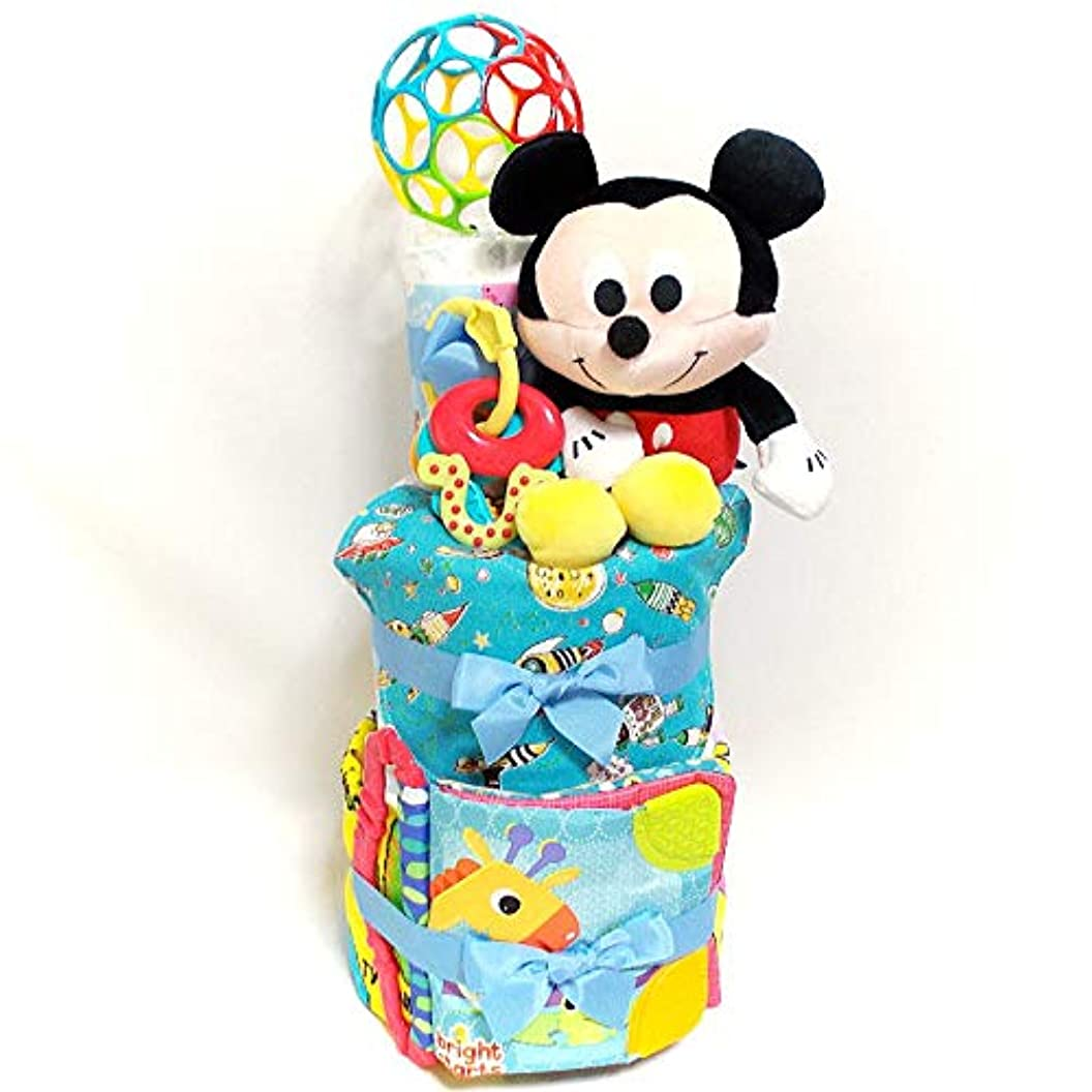 手つかずの療法パウダー19041 おむつケーキ3段 男の子 ミッキーマウスぬいぐるみと布絵本 キャラクターオムツケーキ出産祝い