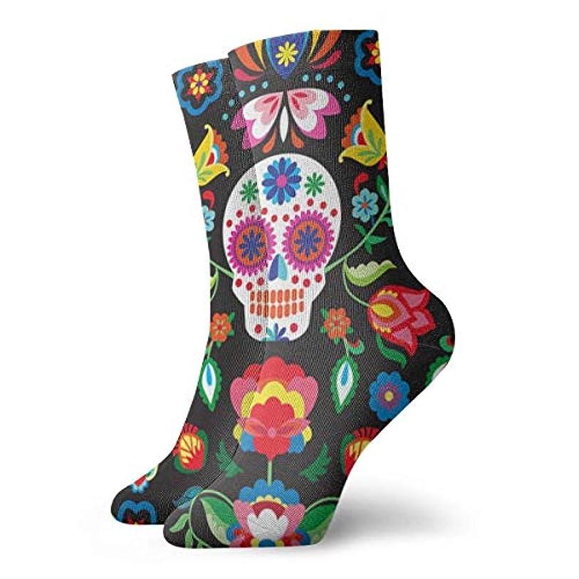 メアリアンジョーンズヒューマニスティック民兵QRRIYノベルティデザインクルーソックス、メキシコのシュガースカル、クリスマス休暇クレイジー楽しいカラフルなファンシーソックス、冬暖かいストレッチクルーソックス