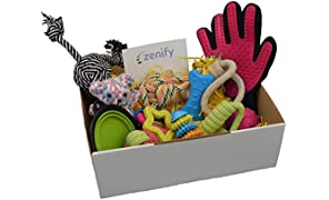 Zenify Puppy Dog Toys Gift Box - 12 Gifts - Pet Interactive Dog Rope Toy Starter Set - Tug Cotton Fetch Ball Launcher Chew Rubber Training Puppies Teething Play Grooming Glove Portable Travel Bowl