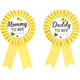Daddy to bee & Mom to bee Tinplate Badge Pin - What Will Baby Be Baby Shower Button New Dad Gifts Gender Reveals Party Baby B