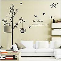 ウォールステッカー ウォールペーパー ウォールシート シール 壁紙 (モノクロ木と鳥)