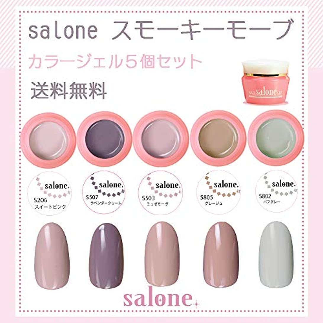 記憶冬。【送料無料 日本製】Salone スモーキーモーブ カラージェル5個セット スモーキーで肌なじみの良い人気カラー