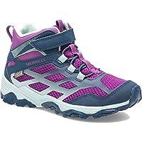 Merrell Kids Girls Moab Mid FST Waterproof Navy Purple Walking Hiking Boots