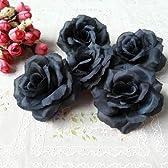 [Neustadt] 闇パーティー 手作りに バラの 造花 8センチ(花のみ)50コ 個性的な 黒 ブラック 店の装飾 イベント等にも