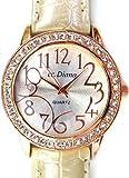 Amazon.co.jp大人可愛いレディース腕時計 ラウンドフェイス クロコ型押し パールホワイト 白 ベルトウォッチ 白 [tvs303-lady]