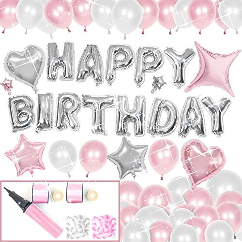 New Sogood 誕生日 バルーン お祝い 飾り付け 130点超え 光沢風船 アルミバルーン 超豪華セット インスタ映え ハンドポンプ おまけ粘着テープ 日本語説明書付き ピンク系