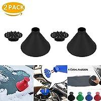 ラウンドウィンドシールドアイススクレーパー、マジカルカーアイススクレーパー、コーン型霜除去漏斗車窓ガラスクリーニングツールコーンアイススクレーパーマジックスノーリムーバー2 pack black