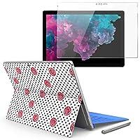 Surface pro6 pro2017 pro4 専用スキンシール ガラスフィルム セット 液晶保護 フィルム ステッカー アクセサリー 保護 バラ 花 ドット 012601