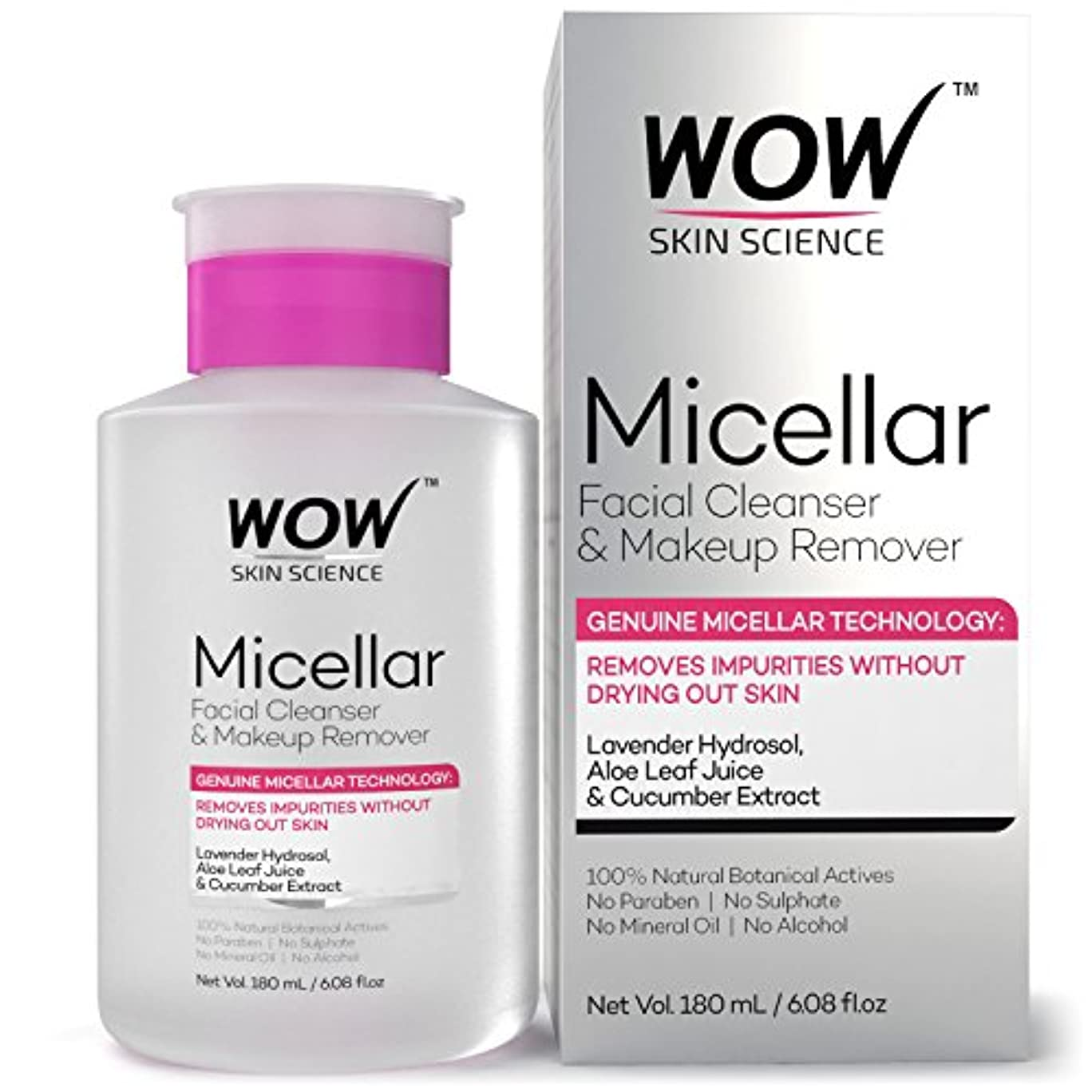 果てしない宣伝エレクトロニックWOW Micellar Facial Cleanser & Make Up Remover No Parabens, Sulphates, Mineral Oil, Alcohol & Synthetic Fragrance Water, 180mL