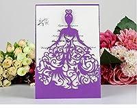 100枚結婚式招待状のカードの3D手作りのカスタム招待状のカード願いメッセージの挨拶ギフトカードの内側のシート付きのポストカード (パープル)