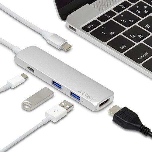 ZNAGO mini™ USB 3.1 Type-C マルチアダプター(シルバー)MacBook対応・持ち運びに便利な小型軽量ポータブルタイプ・4K HDMI出力対応・Type C充電対応・USB 3.0×2ポート搭載・日本語説明書付属