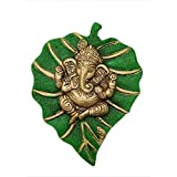 Trendy Crafts Metal Lord Ganesha On Leaf, Wall Hanging Article for Wall Decor, Room Decor, Best for Housewarming, Wedding Gif