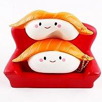 Yumiki スクイーズ お寿司 寿司好き ストラップ 可愛い 笑顔  低反発 弾力性 柔らかい ストレス解消 プレゼント 安い おもちゃ (ホワイト)
