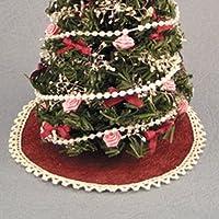 Dollhouse Miniature Holiday Tree Skirt, Burgundy