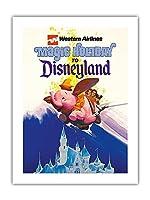 ディズニーランドへの魔法の休日 - ウェスタン航空 - ダンボザフライングエレファント - ビンテージな航空会社のポスター c.1970s -プレミアム290gsmジークレーアートプリント - 46cm x 61cm