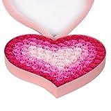 石鹸 花 バラとポプリ 100個セット ハート型 手作り 洗う 手 お風呂 香り キレイ フラワー ソープ ギフト 誕生日 結婚お祝い バレンタインデー ロマンチック 贈り物 (ピンク) HYSUNG SF12081059