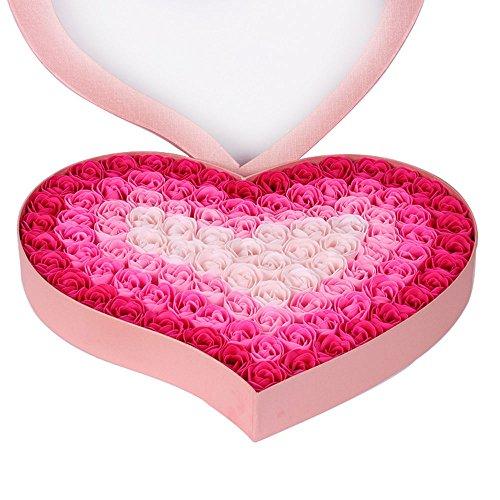 HYSUNG 石鹸 花 バラとポプリ 100個セット ハート型 手作り 洗う 手 お風呂 香り キレイ フラワー ソープ ギフト 誕生日 結婚お祝い バレンタインデー ロマンチック 贈り物 (ピンク)