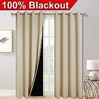 (240cm L, Cream Beige) - Total Blackout Insulated Window Curtains - RYB HOME 100% Light Blocking Energy Smart Drapes Resist Winter Cold & Summer Heat for Living Room / Gazebo Door, W 52 x L 240cm , Cream Beige, 2 Pcs