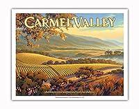 カーメル・バレー・ワイナリー - ジュリアン・ヴィンヤード - セントラルコーストAVAブドウ園 - カリフォルニアワインカントリーアート によって作成された カーン・エリクソン - アートポスター - 28cm x 36cm