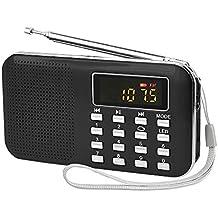 Radioddity L-908 Mini Digital Fm LCD Radio Speaker, Micro Sd/Tf USB Disk Speaker Mp3 Music Player Stereo, Portable Pocket Novelty Radio Receiver, Handheld Cb Radio Transceiver, Black
