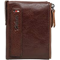 Hibate Men Leather Wallet RFID Blocking Men's Wallets Credit Card Holder Vertical Coin Pocket Purse