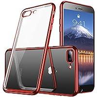 iphone7Plus ケース/iphone8Plus ケース透明 TPU 防塵 指紋防止 ソフト クリア メッキ加工 Qi 充電 対応 耐衝撃 最軽量 超薄型 一体型 人気 ケース レッド