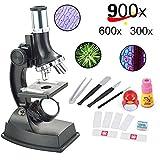 YBB 子供初心者用顕微鏡キット 小学生科学実験知恵玩具 倍率切り替え可能(100X、300X、600X、900Xの拡大倍率) 科学実験と生物研究 ミニ生物世界を楽しもう