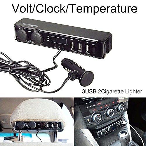 steman-net 高品質車載多機能USBチャージャー 自動車バックシート充電器 DC12V/DC24V適用 シガーソケット・USBチャージャー・時計・温度計・電圧計5in1多機能工具