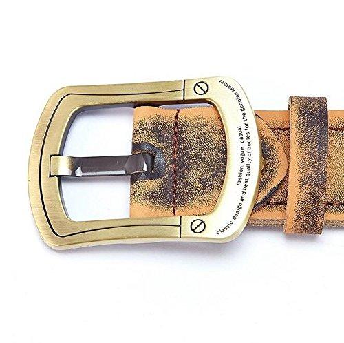 Happylifehere ベルト メンズ 牛革 ビジネスマン クラシック バックル2種類 銅+チタン合金 ハイクオリティ (110cm, 銅製)