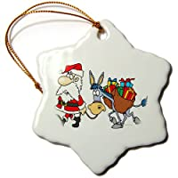 3drose Dooniデザインランダムトゥーン – SillyサンタとクリスマスDonkey – Ornaments 3 inch Snowflake Porcelain Ornament orn_104374_1