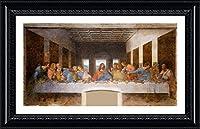 """Alonlineアート–最後の晩餐Leonardo da Vinciブラックフレーム入りポスター(印刷綿100%キャンバス発泡ボードon )–Ready To Hang   41"""" x25""""  リビングルーム用アートフレーム額入り絵画額入りPaints"""