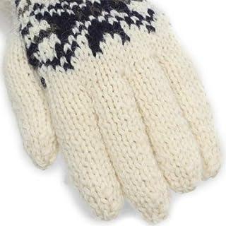 Handknitted Gloves SM07FB: Off-White / Navy