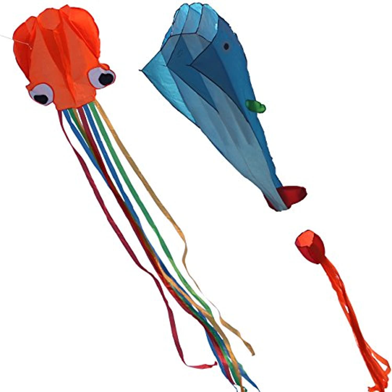 kissky 78.7 X 47.2-inch Huge Whale Kite + 27.5-inch Octopus Kite with Line Flyingツール