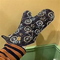 耐熱手袋 脱脂防止手袋コットン印刷プラスコットン高温ベーキング家庭用必須脱脂防止手袋 耐熱グローブ (Color : Black, Size : L-Five pair)