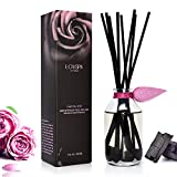 LOVSPA Charcoal Rose Reed Diffuser Oil Set - Scented Sticks Room Freshener, Subtle Smokey Charcoal, Fresh Roses and Mandarin Peel Notes with Decorative Stones for Earthy, Minimalist Home Decor
