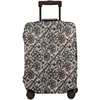 Travel Luggage Cover,Abstract Graphic Lace With Flowers Butterflies Old Fashioned Nature Inspired Suitcase Protector
